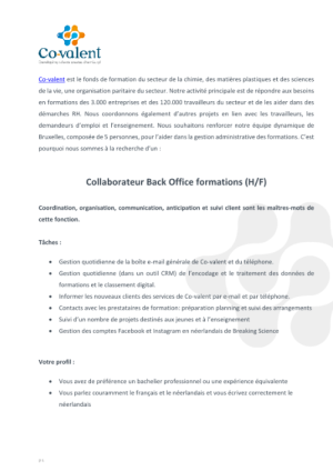 collaborateur back office